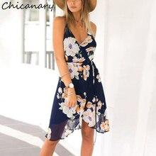 Chicanary Floral Print Cami Wrap Dress Women V-neck Ruffles Trim Beach Wear Backless Chiffon Dresses