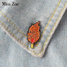 Set The World On Fire Enamel Pin Lencana Bros Pertandingan Api Api Kerah Pin Kemeja Denim Kerah Punk Keren Fashion perhiasan Hadiah(China)