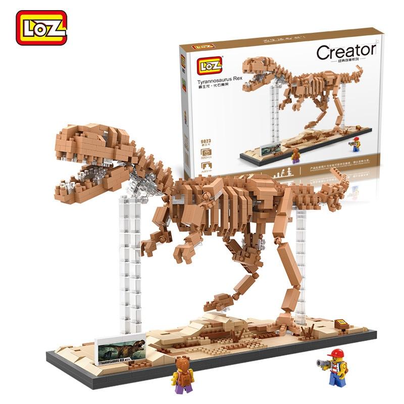 9023 Jurassic World Tyrannosaurus Rex Fossil LOZ Diamond Building Blocks Mini 3D DIY Assemble Toys Children Early Education Toys new loz diy diamond building blocks 9048 2660pcs santa maria yacht figures model toys nano bricks children education toys