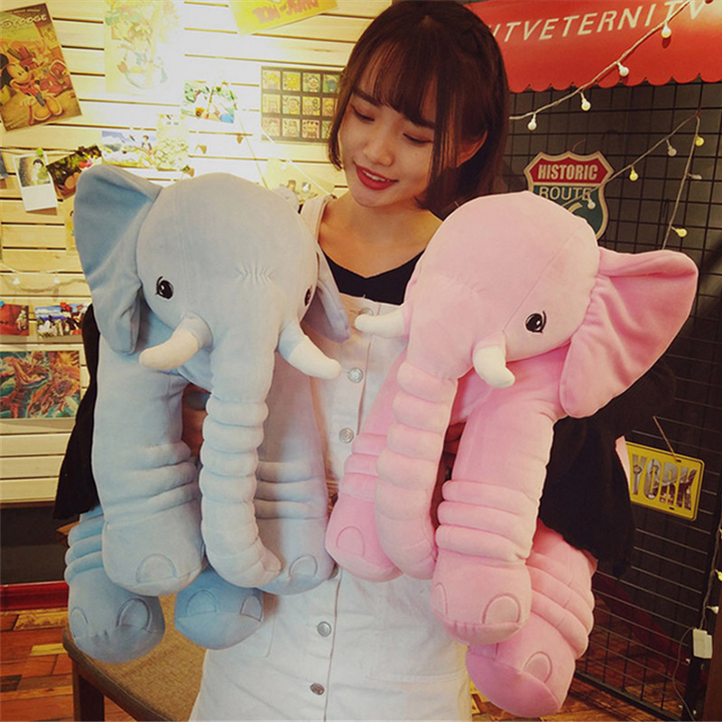 Fancytrader Soft Plush Cartoon Elephant Toy 65cm Giant Stuffed Pop Animals Pilllow Doll for Kids Present fancytrader korea 120cm giant plush soft animal longer ears rabbit toy cartoon sleeping bunny doll gifts for friends kids