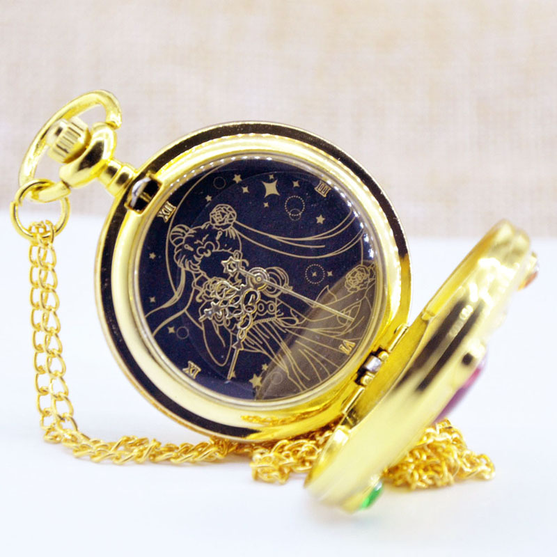Luxury Golden Fashion Sailor Moon Anime figure Cartoons Quartz Pocket toy Watch Analog Pendant Necklace Girl Womens Watches 4 design bronze vintage quartz pocket watch free mason sword art online gear necklace pendant chain womens mens gifts p1123