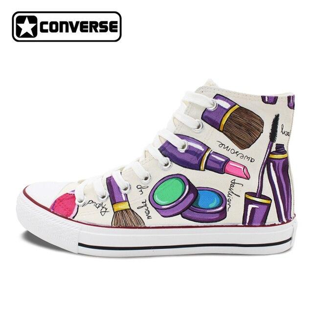 Personnalisé Converse All Star Peint À La Main Chaussures Femmes  Cosmétiques Haute Top Blanc Toile Sneakers