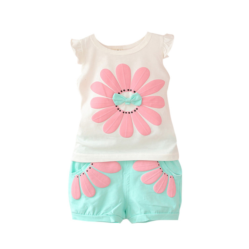 Summer Toddler Baby Girls Summer Clothing Sets Bow Sunflower Vest Shirt+Shorts Kids Outfits 1-4Y