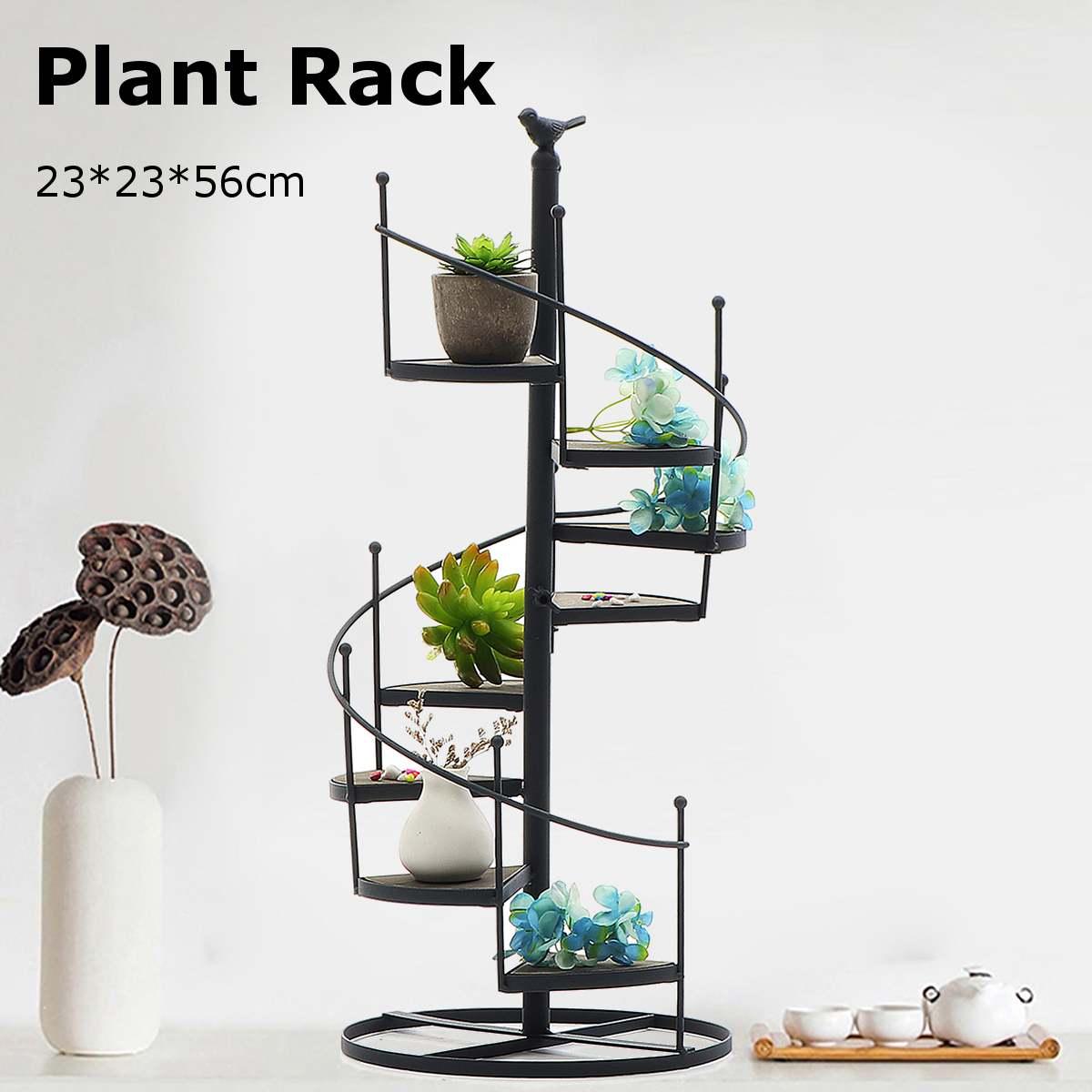 Modern Decorative Iron Plant Rack Stand Plants Succulent Shelf 8 Layer Stair Shape Desktop Garden Flower Stand + Wood Plate