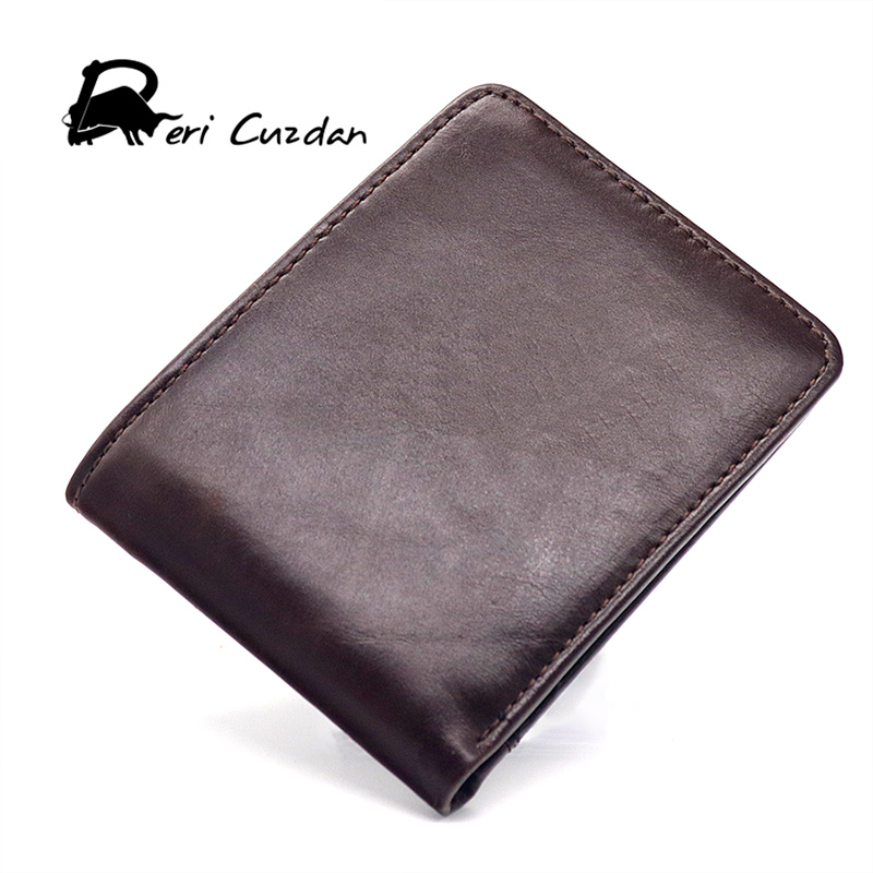 DERI CUZDAN Slim Wallet Men 2017 Casual Mens Short Wallet Leather Genuine Mens Luxury Thin Purse Bifold Wallet Men Holder Card williampolo mens mini wallet black purse card holder genuine leather slim wallet men small purse short bifold cowhide 2 fold bag