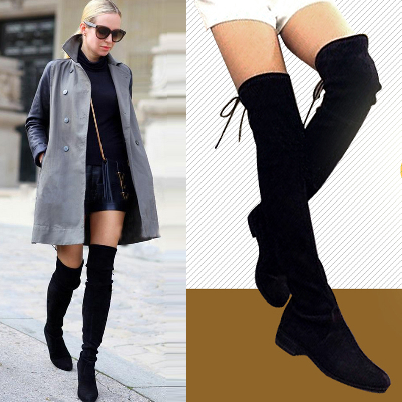 bef6af5a6eb5 New women Genuine Leather knee thigh boots European style slim boots woman