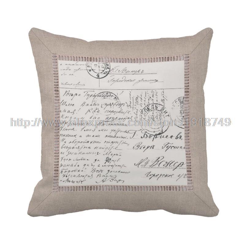 Brief gedruckt braunen kissenbezüge shabby chic vintage platz dekokissen fall für sofa...