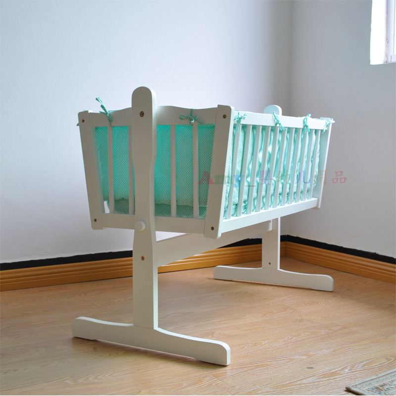 Small Bed  Solid Wood  European High-end Baby Bed Cradle