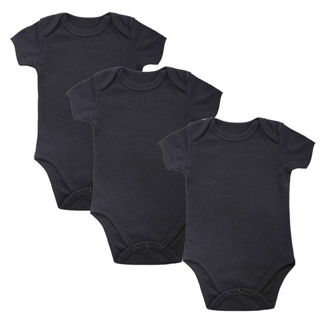 3 шт./лот новорожденных Детские боди Черный 3 упак. 100% хлопок короткий рукав место унисекс детские трико из 100% хлопка для мальчиков и девочек 0 -12 Пн