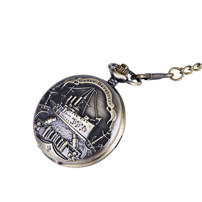 9063 Large Bronze Embossed Cruise Ship Pocket Watch European And American Style Pirate Ship Retro Thick Chain Pocket Watch