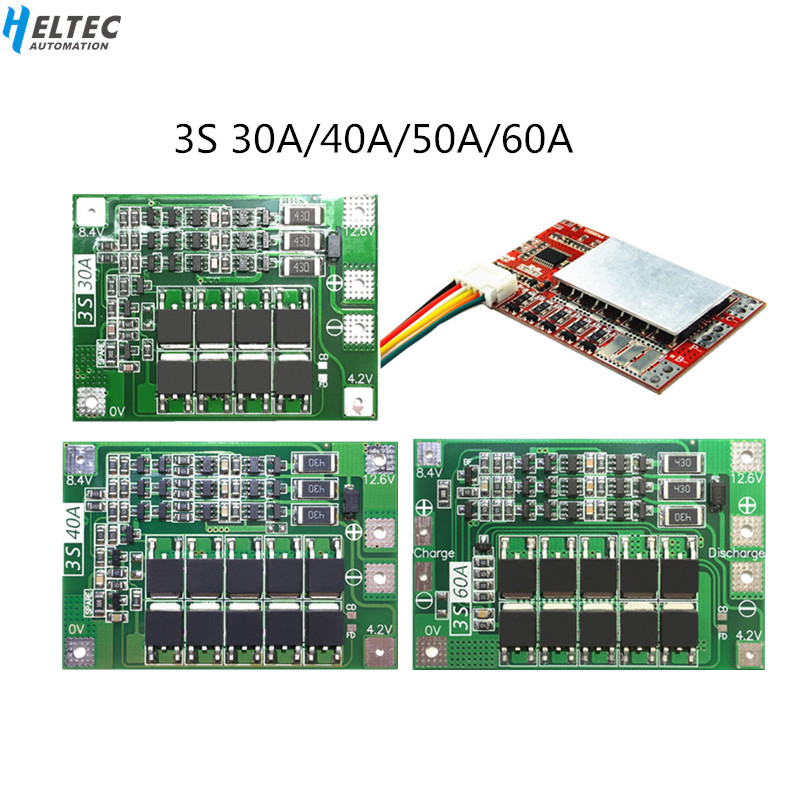 18650 BMS 3S 30A/40A/50A/60A BMS Board  with Balance 11.1V 12.6V 3.7V LI ION Battery Protection Board-in Battery Accessories from Consumer Electronics