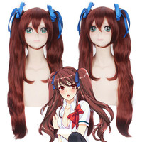 Fate/Stay night Tohsaka Rin Another Akazawa Izumi Long Curly Brown Cosplay Wigs with Two Claw Clip Ponytail Synthetic Hair Wig