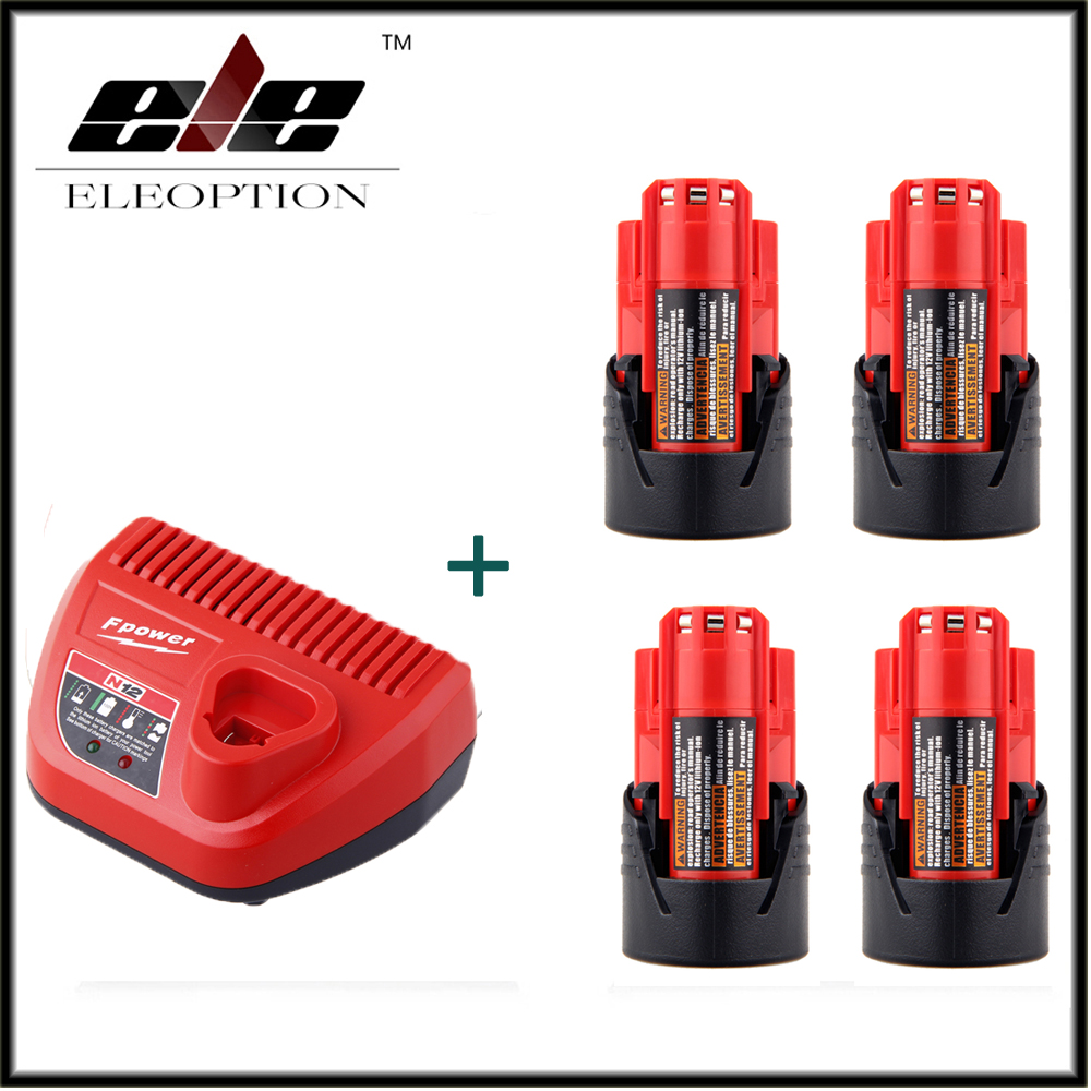 4 PCS Power Tool Battery For Milwaukee M12 48-11-2401 2510-20 48-59-1812 12V 1500mAh Li-ion Rechargeable Battery + Charger 3pcs 12v lithium ion 1500mah power tool rechargeable battery with charger replacement for milwaukee m12 48 11 2401 48 11 2402 page 5
