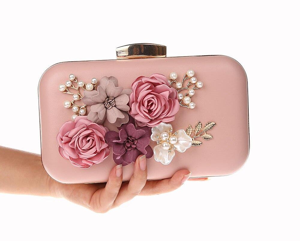 c0f7c01edf Baby Pink Chinese Womens PU Handbag Clutch Bag Flowers Evening Bag Bride  Party 2018 NEW fashion