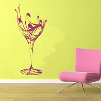 C186 Elegant Wine Glass Wall Sticker For Kitchen Vinyl Wall Decal Kitchen Wall Poster
