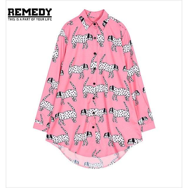 Womens Spotty Dog Print Blouses blusas de renda feminino Ropa Mujer Women PlusSize Shirt Ladies Fashion Oversized ShirtsforWoman