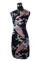 Hot Sale Black Chinese Womens Silk Rayou Mini Halter Cheongsam Qipao Evening Dress Peafowl Size S