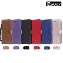 Leather Flip Case for Samsung 9300 M30 20 S5 6 7 8 9 10 Note 8 9 PU Leather Holster Wallet Cover Pure Blue Red Stand Phone Case(China)