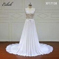 Eslieb High End Wedding Dress 2018 Vintage A Line Lace Appliques Bead Robe De Mariage Illusion