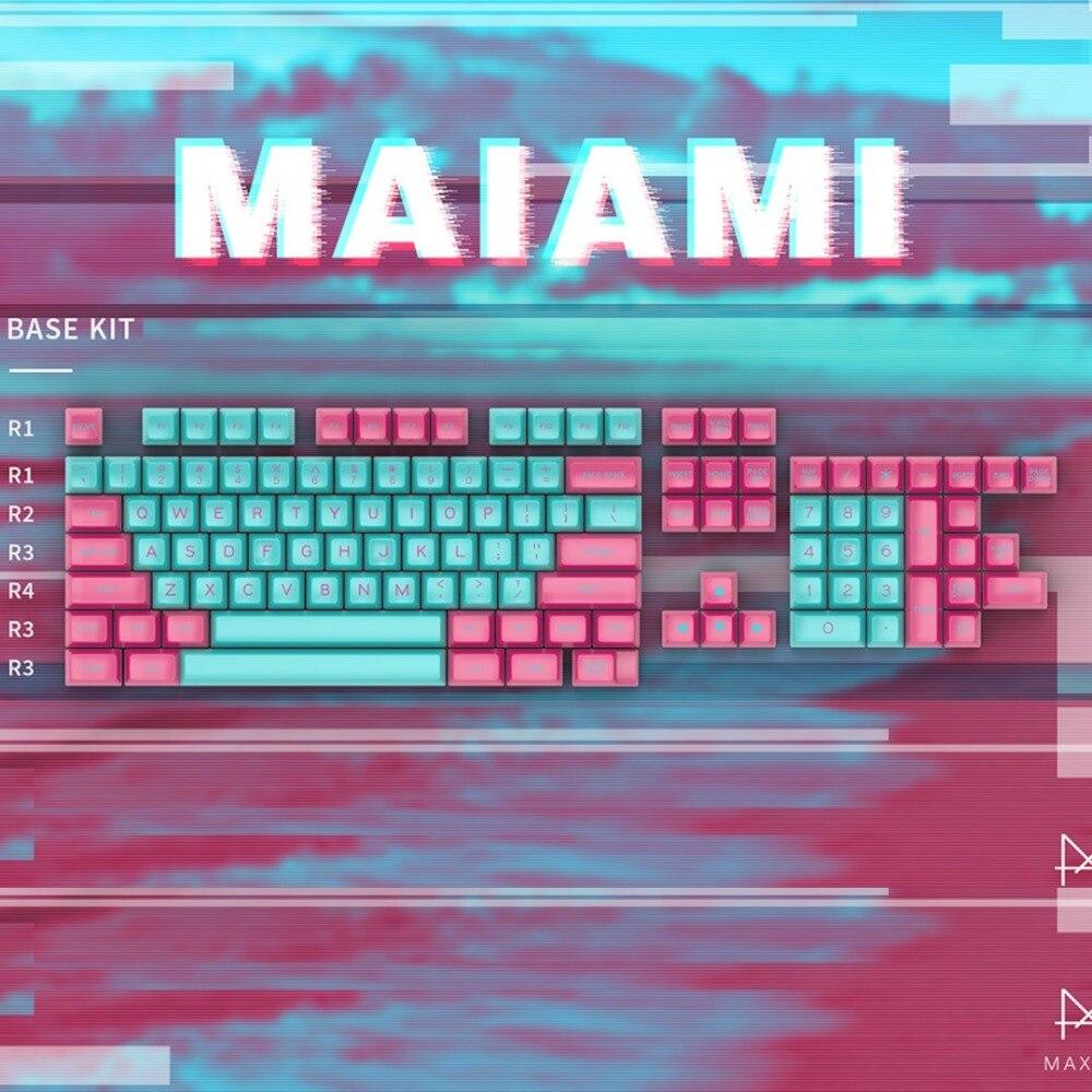 MAXKEY MAIAMI keycaps SA çift atış ABS keycaps mekanik klavye için fit kbd75