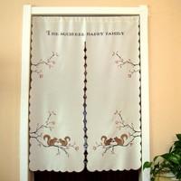 Cartoon Embroidered Squirrel Window Light Shading Curtain Half Curtain for Kitchen Cabinet Door Cloth Curtain Partition Garden