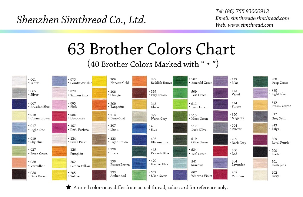 Brother Embroidery Thread Color Chart Pdf Coloringsite