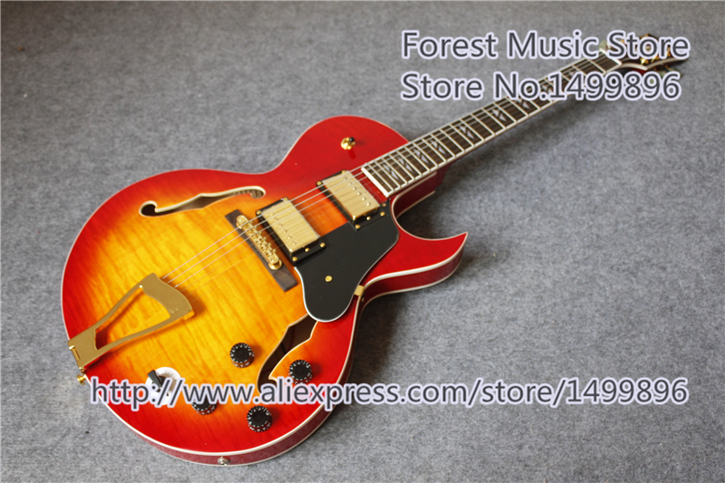 Chinese CS Cherry Sunburst Finish Hollow Maple Guitar Body ES Electric Guitars With Gold Hardware For Sale new arrival electrics guitar 12 strings cherry sunburst semi hollow maple body for sale