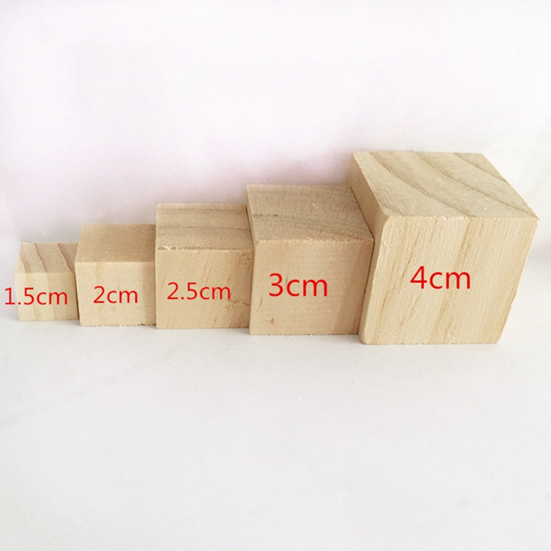 1 Pack Solid Wood Cube Wooden Square Blocks Kids Early Educational Toys Assemblage Block Embellishment For DIY Woodwork Craft