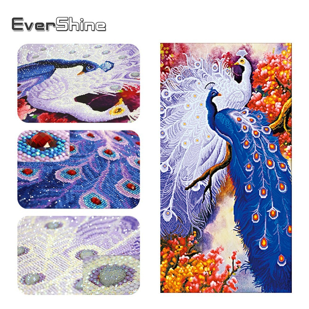 EverShine bricolage 5D diamant peinture point de croix animaux forme spéciale diamant broderie Couple paon Kits décoration murale