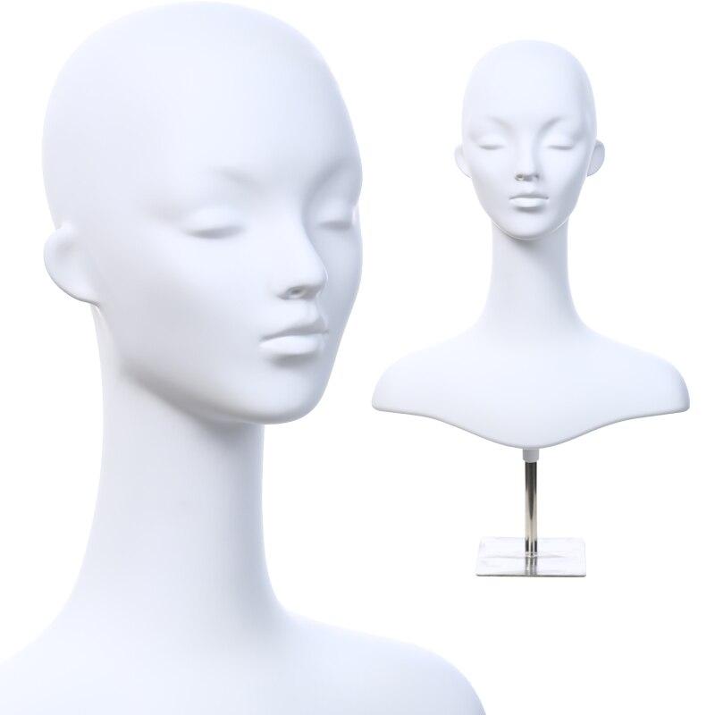 D30 blanc Tête mannequins pour femme Chapeau long/Perruque de cheveux courts Femmes modèle lunettes boucle d'oreille mannequin D'affichage De fenêtre