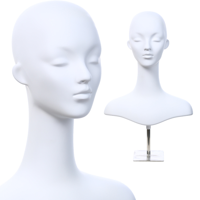 D30 White Head Mannequins For Female Hat Long Short Hair Wig Women Model Show Gles Earring Mannequin Window Display