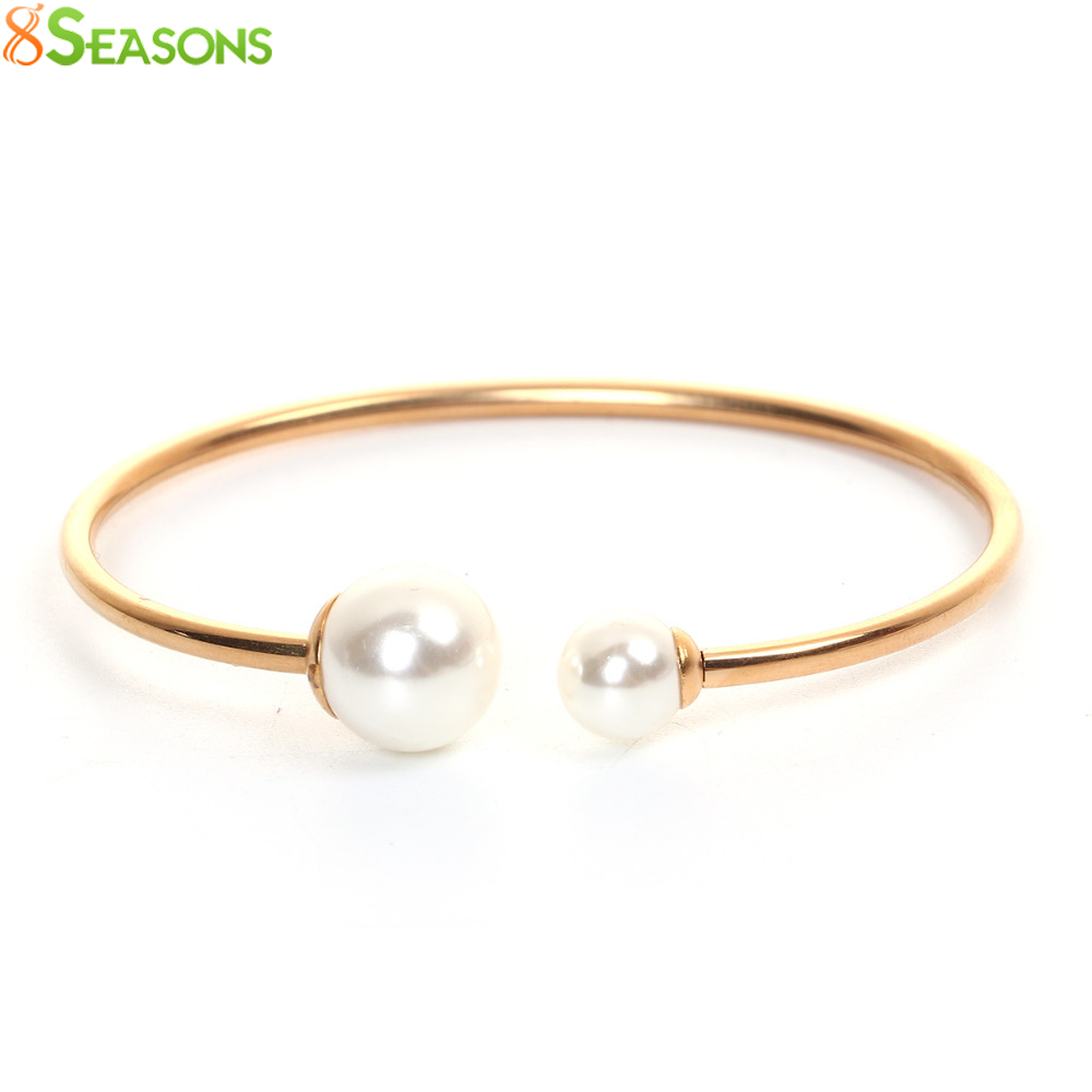 8SEASONS Stainless Steel Open Cuff Bangles Bracelets Women Fashion White Acrylic Imitation Pearl Elastic 18cm(7 1/8