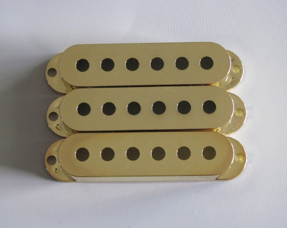 KAISH Gold 50mm Pole Spacing 3 Single Coil ST Guitar Pickup Covers vintage voice single coil pickups fits for stratocaster ceramic bobbin alnico single coil guitar pickup staggered pole top
