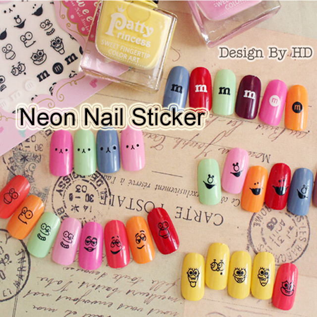 Foreverjasmine 5pcs 3d Black Emoji Nail Art Sticker Spongebob Nail