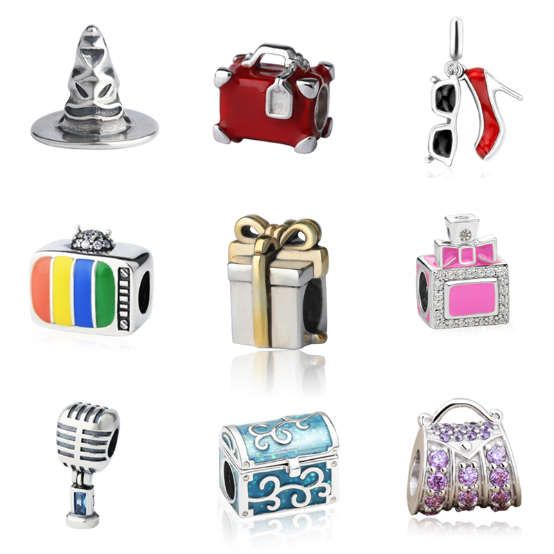 Charms Silver 925 Original hat suitcase high heel shoes glasses box Beads Fit authentic Pandora Bracelet jewelry making for gift