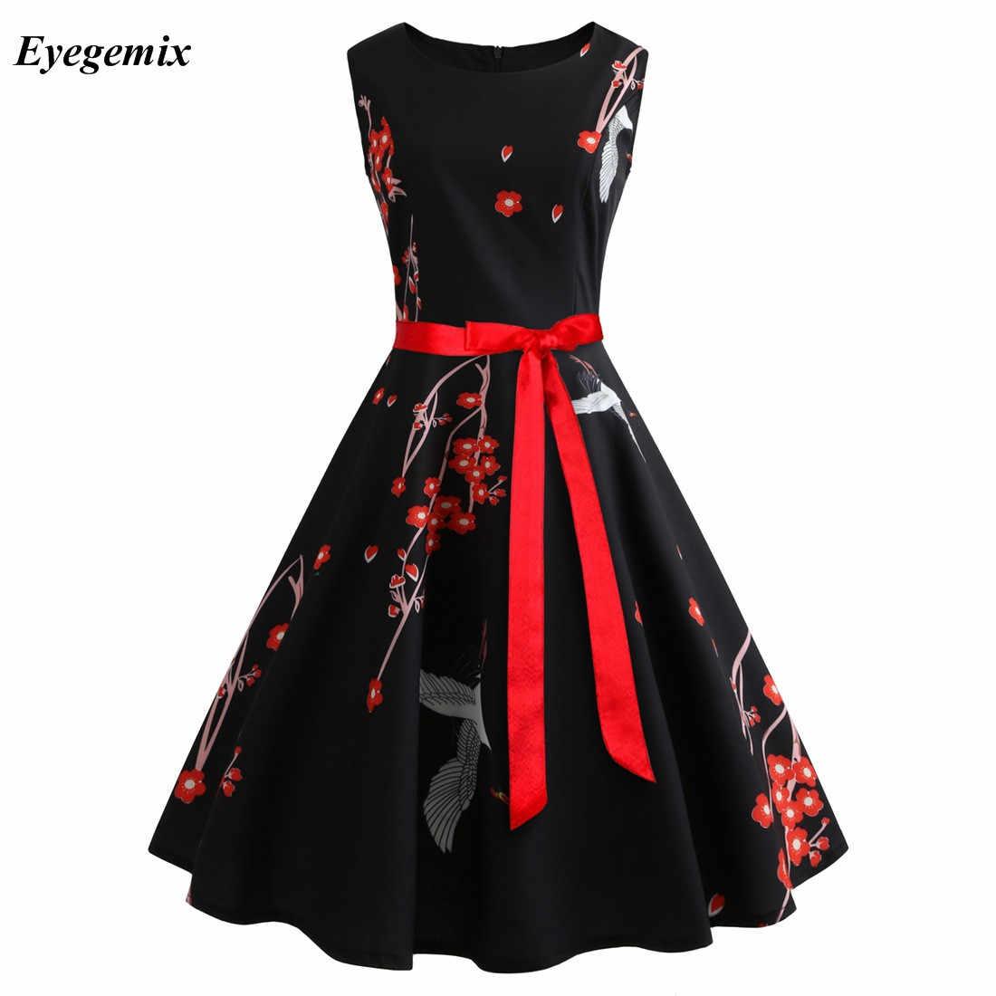 4d9f7f5fc235 Floral Print Vintage Dresses Women Retro PinUp Tutu Dress Hepburn 50s 60s  Rockabilly Robe Feminino Vestidos