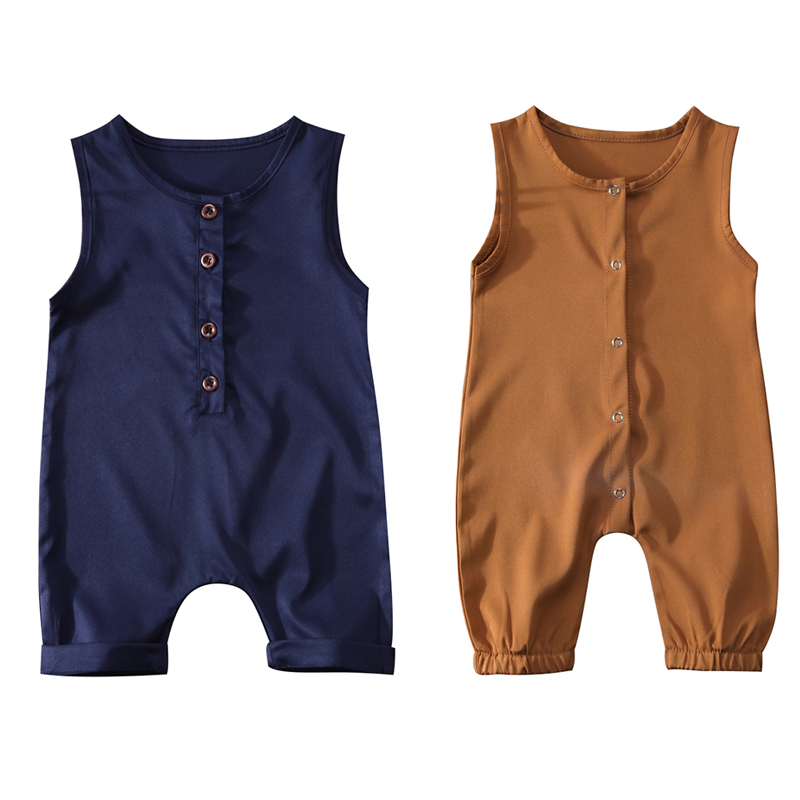 7f03b8815ae7 Solid Color Newborn Infant Baby Boy Girl Sleeveless Cotton Romper Jumpsuit  Playsuit Outfit Baby Clothes 0-24M