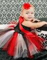 Черный красный младенец девочка свадебное платье тюль пушистый бальное платье на день рождения сценический костюм ткань ручной пачка ну вечеринку платья