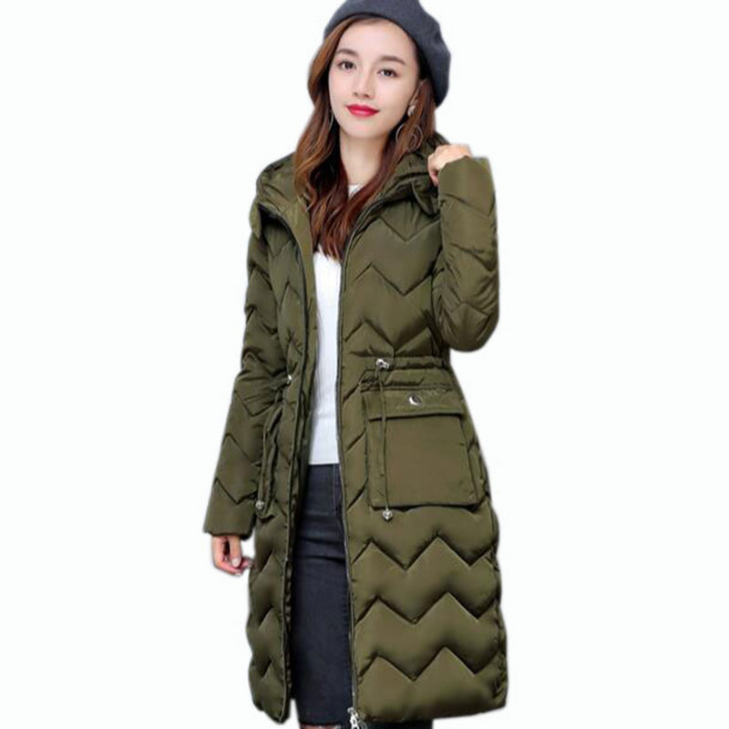 2017 Winter New Women Cotton Jacket Elegance Hooded Fur collar Thicken Warm Big yards Slim Long Overcoat With a belt QH0482 цены онлайн