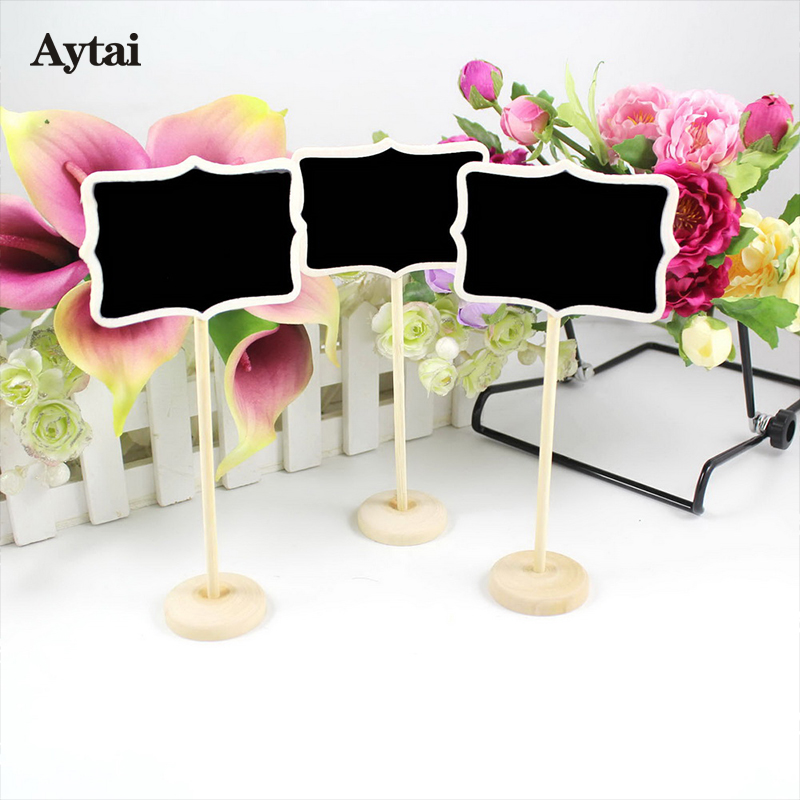 Aytai 6pcs Wooden Blackboard Wedding Table Number Holders Wedding Place Number Stands Party Direction Signs Event Party Supplies