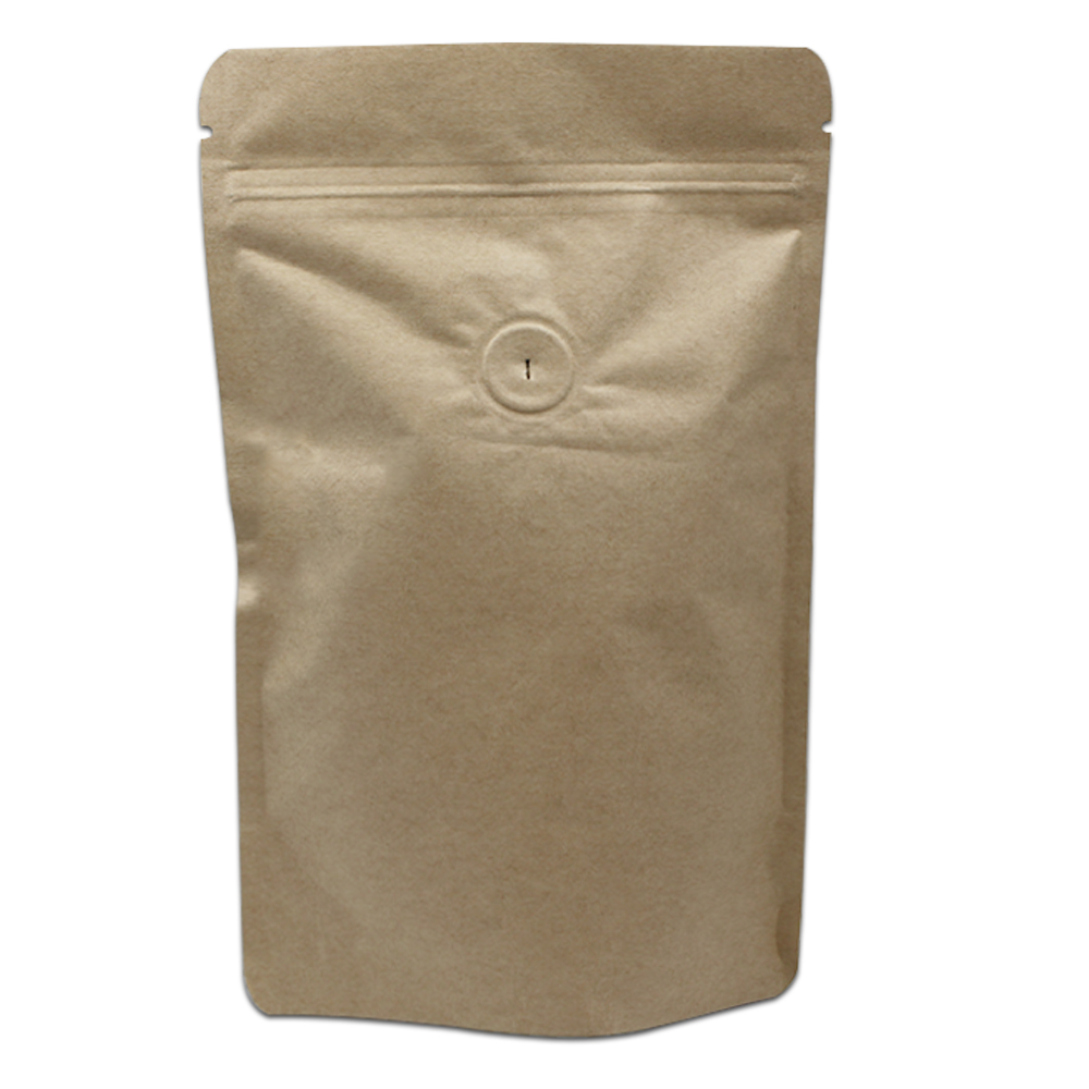 50Pcs Stand Up Kraft Paper Pure Aluminum Foil Zip Lock Packaging Bag with Vent Valve Resealable