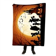 Halloween Reversible Sherpa Blanket Bohemia Paisley Floral Pattern Fleece Throw Fuzzy Microfiber