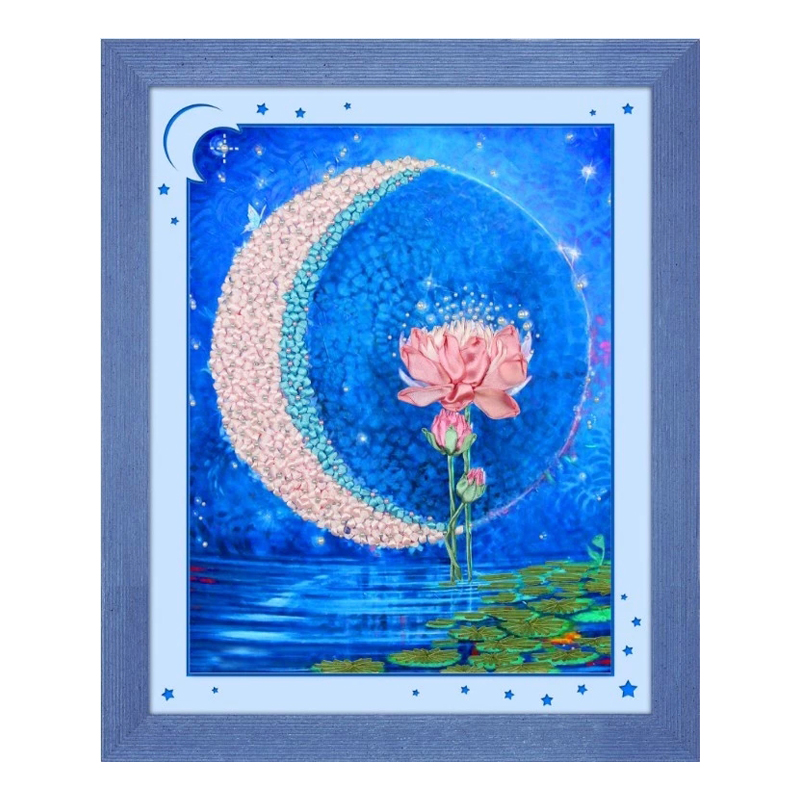 Blue Lotus Flower Ribbons Embroidery Decorative Canvas Painting Diy