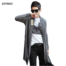 Long Mens Cardigans Paragraph Cloak Korea Knitted Thin Cardigan Cloak Mens Cardigans Sweater for 2017 Black Grey XXL