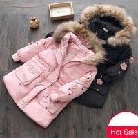 Baby Girl Coat 2018 Winter 3 10 11 12 Years Teenager Thickening Faux Fur Floral Print Kids Girls Hooded Medium Long Down Jacket