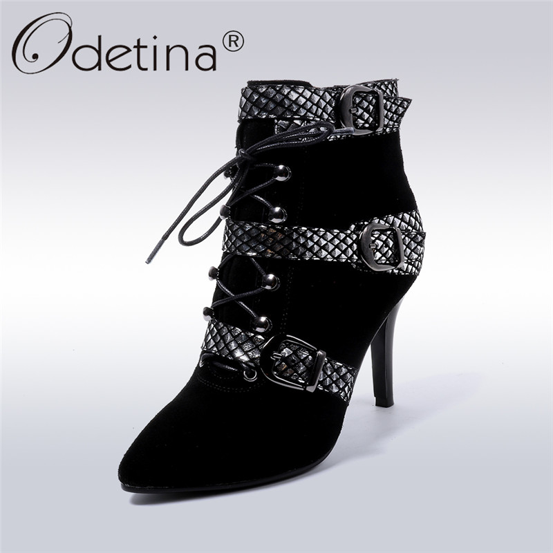 Odetina 2018 New Fashion Genuine Leather Ankle Boots For Women Pointed Toe Buckle Strap Shoes Ladies Thin High Heels Booties Zip fashion fringe women short chelsea boots black genuine leather thick high heels shoes woman pointed toe metal buckle booties