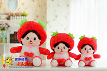 lovely stuffed Monchhichi  monkey toy cute Monchhichi doll birthday gift about 40cm red strawberry hat