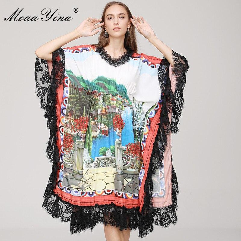 MoaaYina 2018 Fashion Designer Runway Dress Spring Women s V neck Batwing Sleeve landscape Floral Print