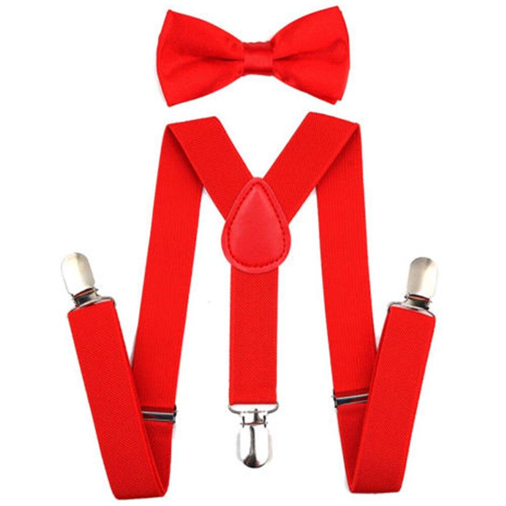 Регулируемая мода мальчиков хлопчатобумажный галстук вечерние галстуки подарок высокое качество для маленьких мальчиков малышей бабочка галстук-бабочка+ на подтяжках комплект одноцветное Цвет - Цвет: Red