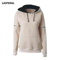 LASPERAL 2017 Hooded Elbow Patchwork Sweatshirts Women Solid Long Sleeve Tracksuits Female Outerwear With Pocket Hoodies